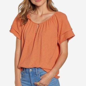 Texture & Thread Tiered-Sleeve Top